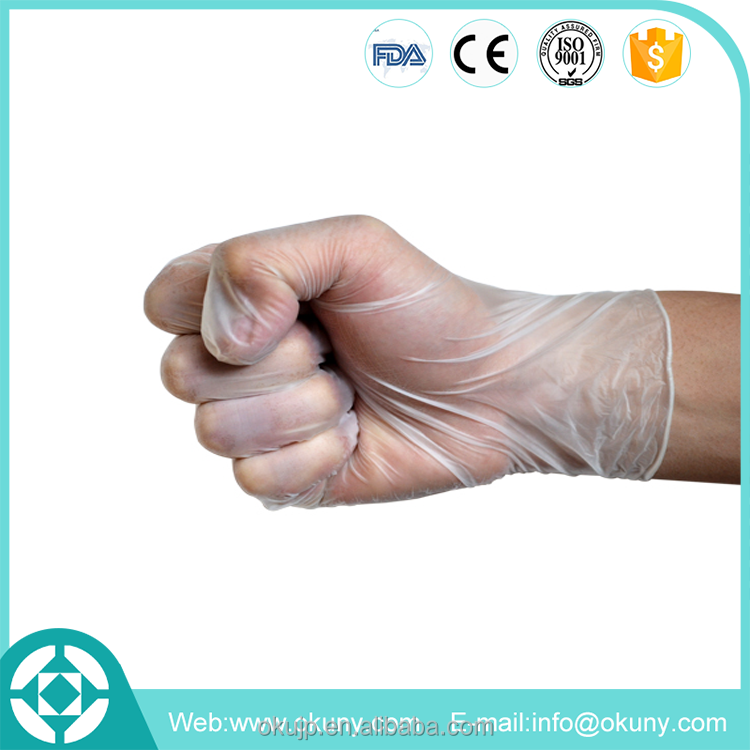 Lightly powdered exam grade vinyl glove disposable with CE / ISO