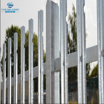 2m high palisade fencing galvanised 2mm W section 50x50mm rails