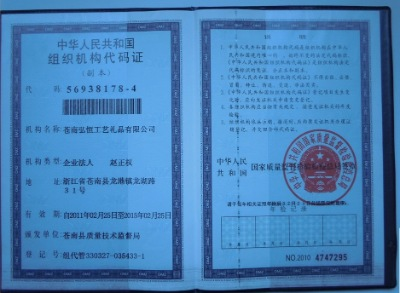 The People's Republic of ChinaOrganization code certificate