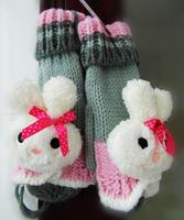 Cute cartoon rabbit winter plus velvet bow in the women knitted wool gloves