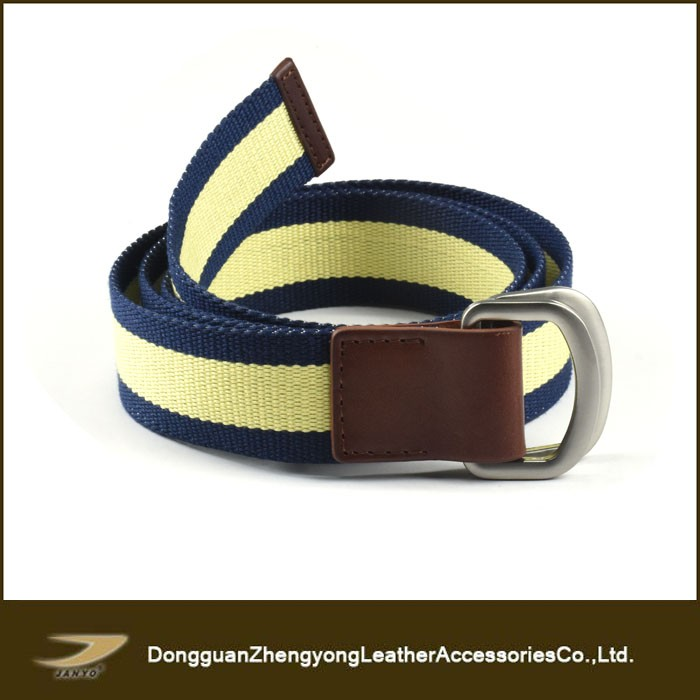 Hot sales casual double D ring buckle stripe webbing belt