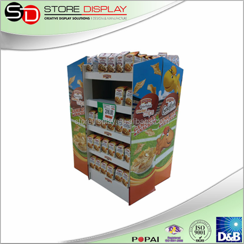 Pop up crisps display for supermarket, pos display for pringles chips, food promotional cookie shelf new product