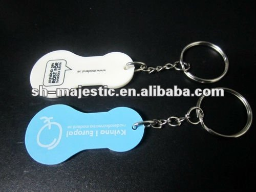unique design plastic shopping trolley coin key chain