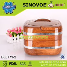 2 Layer ABS wooden color stainless steel insulated thermal casseroles hot pot