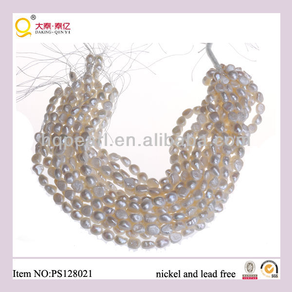 11-12mm irregular shape freshwater pearl string/strand
