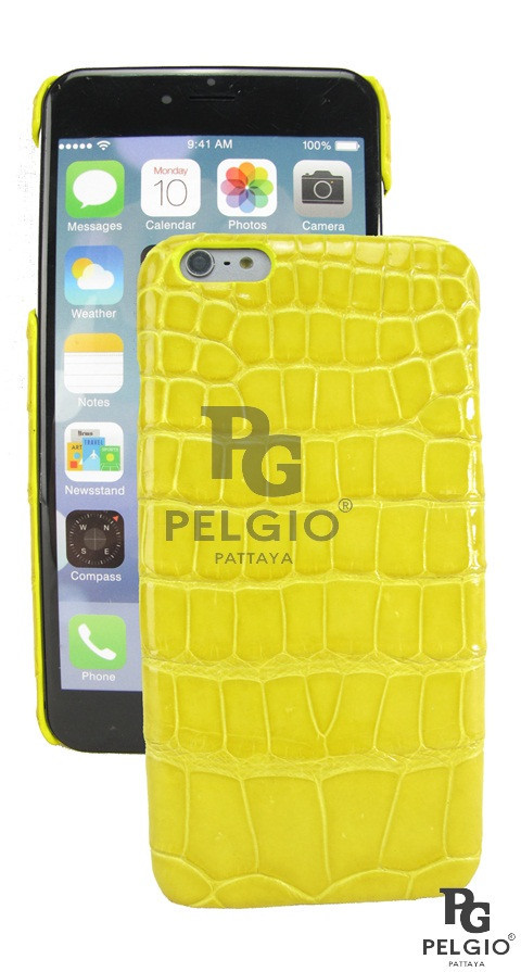"PELGIO Genuine Crocodile Belly Skin Mobile Phone i6 4.7"" Hard Case Green"