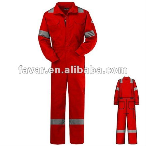 Flame Resistant Reflective Striped Deluxe Coverall Red Builders High Vis Workwear Boiler Overalls for Men