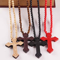 Fashion Wooden Beads Cross Necklace Men Women Ladies