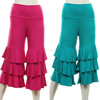 Women Icing Ruffle Pants Ruffle Tiers Capris OEM In Black Jade, Charcoal, Coral, Hot Pink, Mint