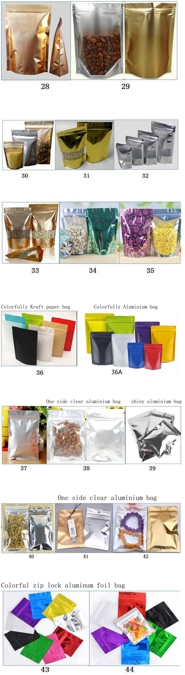 Stand Up Tea Packaging Bags Laminated Aluminum Foil Packaging Bags