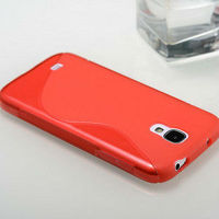 Red tpu ultrathin tpu cover case for samsung galaxy s4 i9500 cute cover for i9500 mobile phone case for samsung galaxy s4
