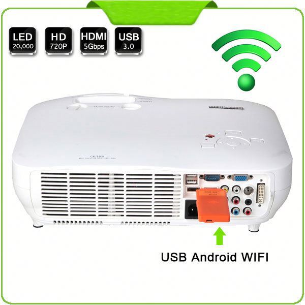 "Office & School & Home Equipment 0.74"" 3LCD R.G.B 3LED 1080P Projector 1920x1080 with WIFI/Android/USB/VGA/HDMI/DVI/RS232"