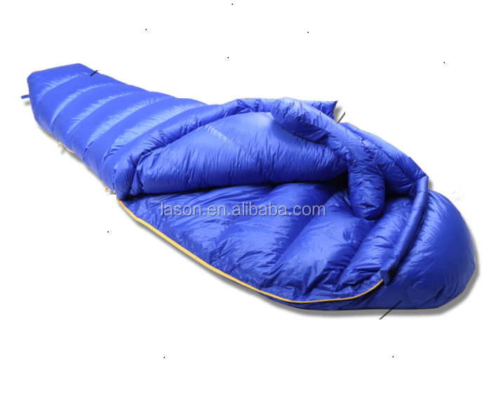 300T waterproof nylon fabric down filling mummy style cold weather sleeping bag with compression bag packing