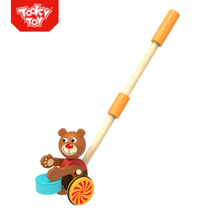 Children Play Bear Push Pull Along Wooden Toys