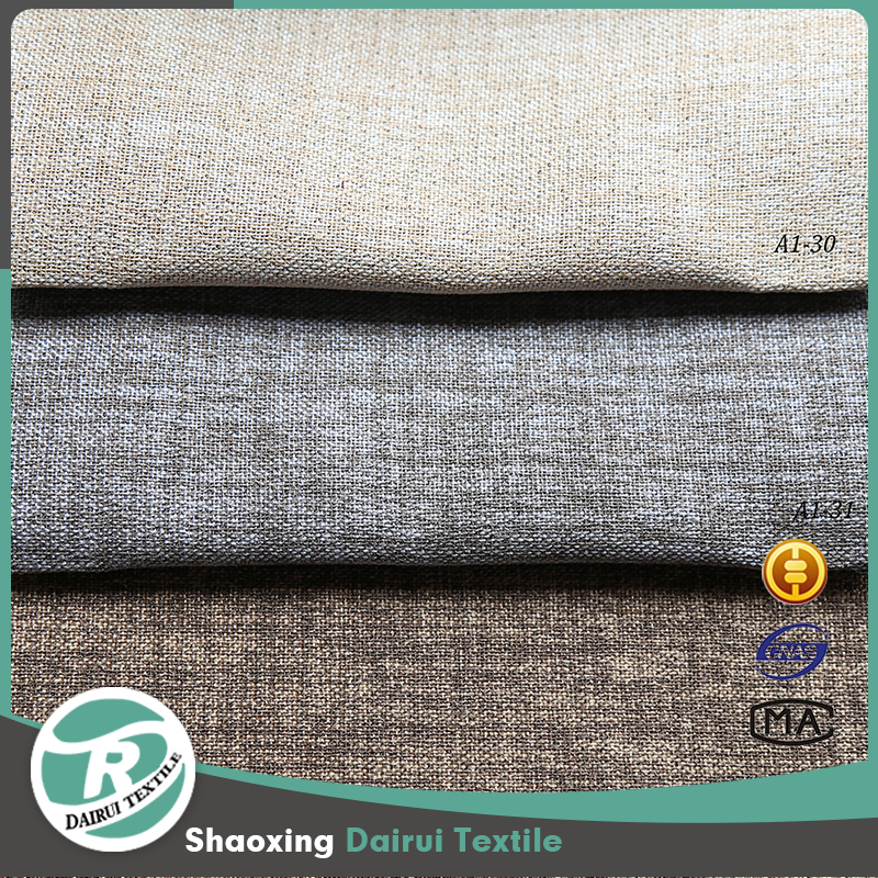 Different colors hotel dining room 100% polyester looks linen blackout curtain fabric