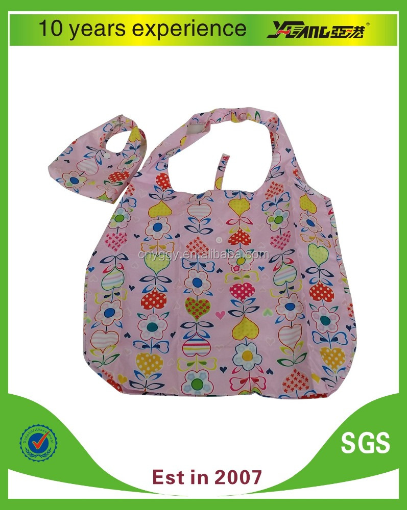 210D reusable promotional foldable shopping bag