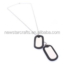 Army Style Cool Blank Mens Dog Tag Pendant Necklace