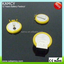 3.6V LIR2032 battey with pins/tabs, lir2032 rechargeable button cell solderable battery LIR2032 with pins/tabs