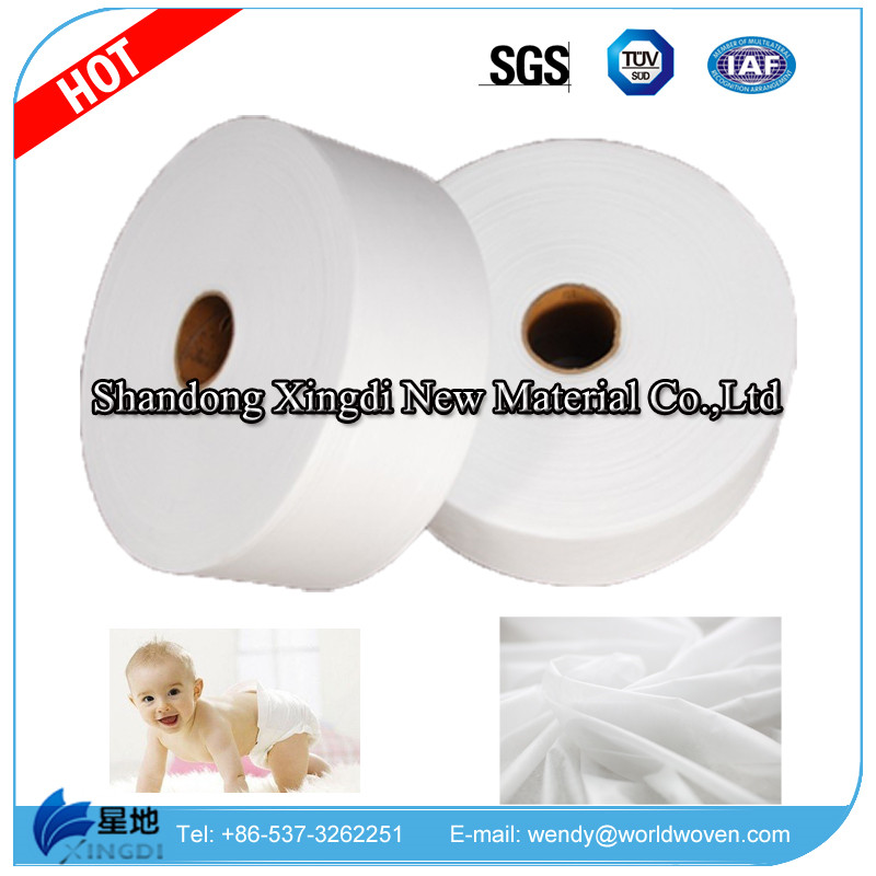 Plain Super Cotton Soft Fiber Airthrough Hydrophilic Nonwoven for Baby Diaper Topsheet