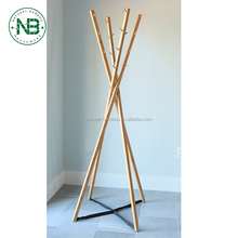 Bamboo coat tree,bamboo clothes rack,clothes tree Bamboo 4-Poles Coat Rack Stand