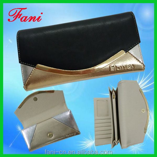 Contrast color design leader PU leather wallet with change purse for ladies
