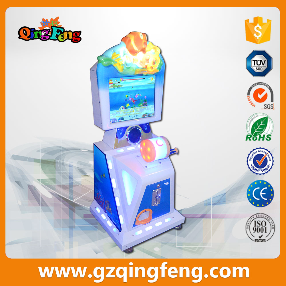 Qingfeng hot sale coin operated mini 1 players kids game go fish arcade fishing video game machine