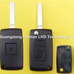 Promotion 2 button flip remote key cover Peugeot 307