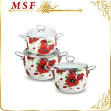 with glass lids and flower pattern decal enamelware cookware