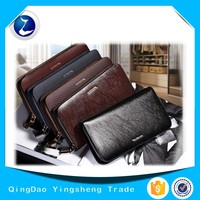 Boutique Men's Long Wallet Imported Cowhide Genuine Leather Zipper Handbag