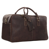 7156 Top Grain Genuine Leather Duffle Weekend Bag Large Volume Holdall Leather Travelling Luggage Overnight Bag