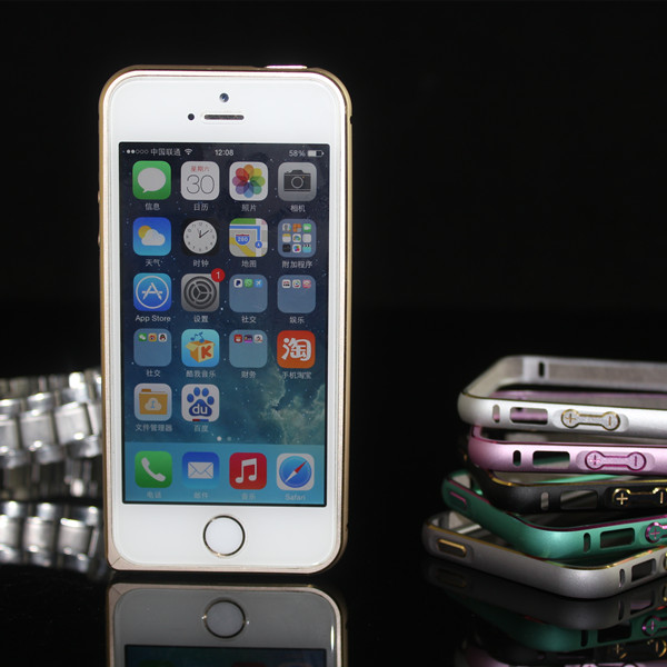 Luxury Ultra Thin 0.7mm slim thin gold screw metal bumper case for iphone 5 5s in stock
