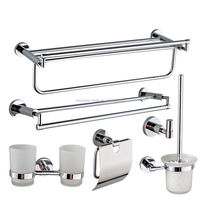 6 Pcs Soild Brass Wall Mounted Bathroom Accessories Set Towel Rack Bar Robe Hook