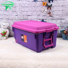 Hot Sale Kids Use Plastic Storage Container 69L Toy Storage Case With Casters