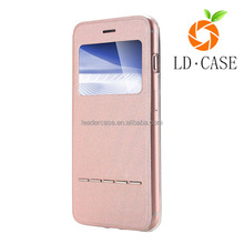PU Slim Flip Leather Case With Front View Window for iphone 6
