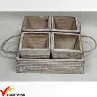 Primitive Square Decorative Planter Box Tray with Linen Handle
