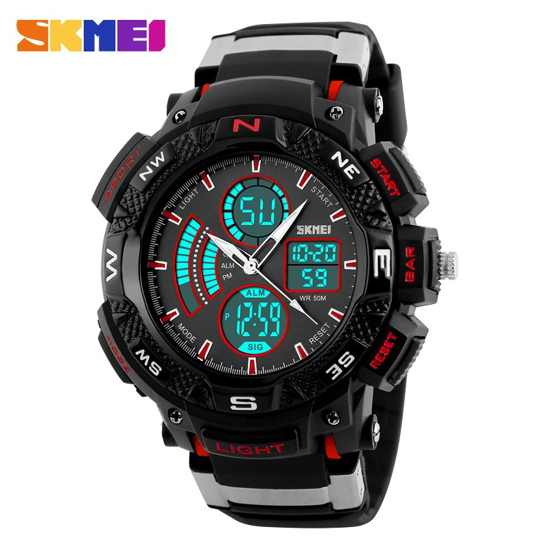 new 2017 led clock luminous watch dual time japanese movement 50m waterproof sports electronic skmei digital watch instructions