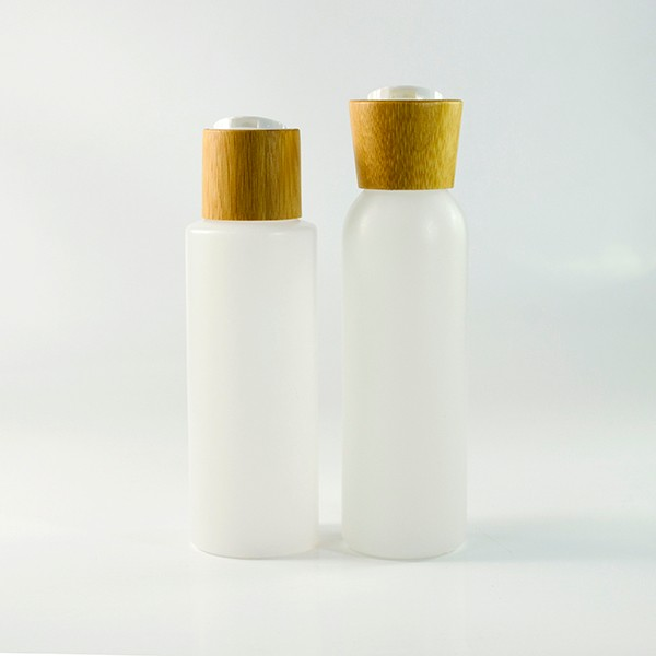 Frosted cosmetic glass jar bottle with wooden bamboo lid