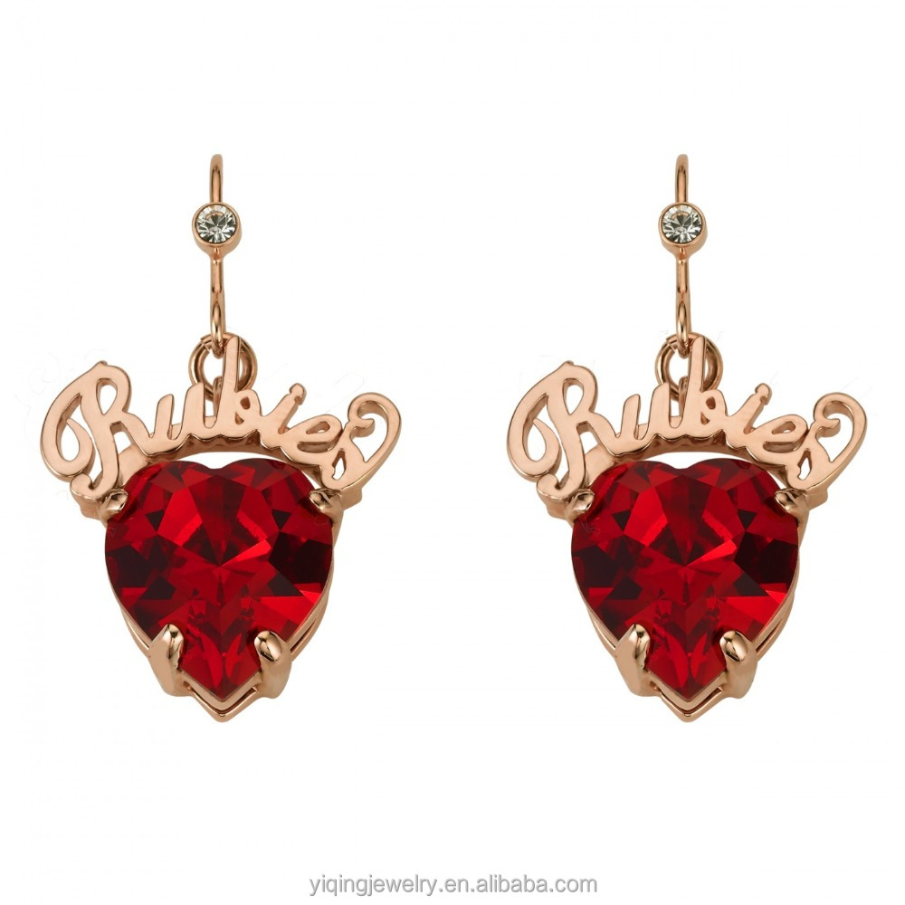 EYQ-00167 elegant charm heart shape ruby, emerald,diamond gemstone heart earring