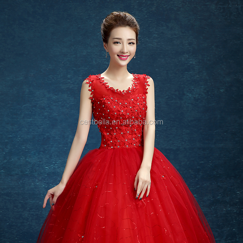 Ball gown white and red wedding dress Made In China Wedding Dress Ball Gown