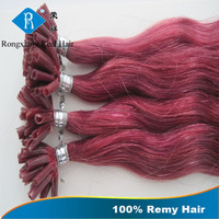 New Products Italian Keratin 100% Human Remy u tip wavy hair extensions