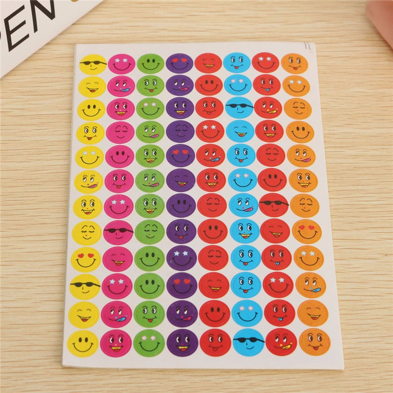 Free Ship <strong>10</strong> Sheets Mixed Color Lovely Smile <strong>y</strong> Smile Faces Stickers School Teacher Useful Gift Reward Kids Well Done Stickers
