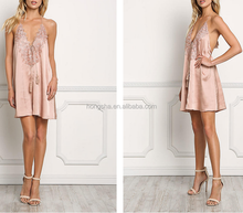 Dusty Rose Satin Crochet Trim Halter Dress Names of Ladies Sexy Girls Dresses Photo Without Dress HSD5357