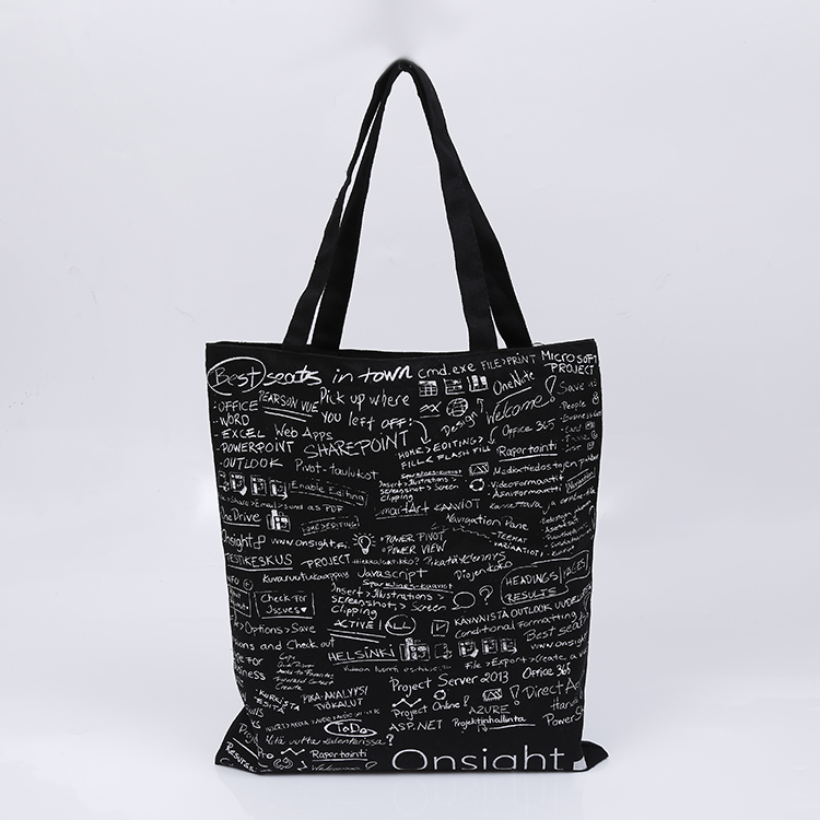 wholesale promotion fashion reusable black cotton canvas tote bag for shopping