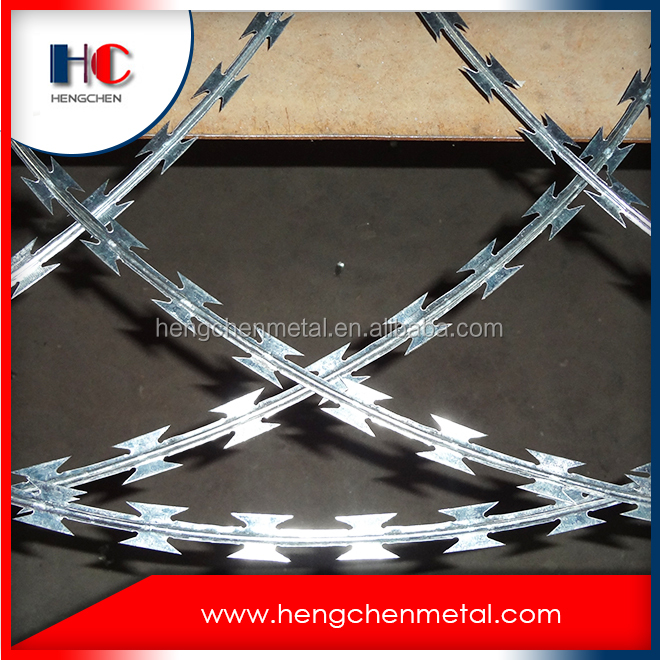 Hot dipped galvanized razor barbed wire factory price,iron razor barbed wire fence,low carbon razor barbed wire mesh