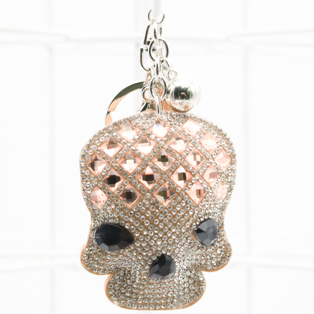 Cute Skull Fruits Colorful Rhinestone Tassel Lady Short Key Chain