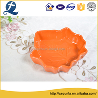 Custom logo single color maple leaf snack tray ceramic plates dishes