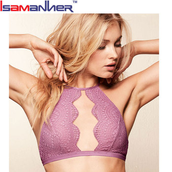 Women's high-neck halter sexy lace bra top with keyhole in front