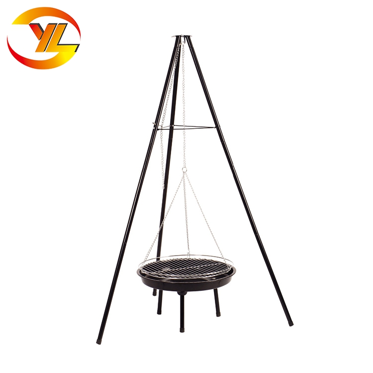 Camping Tripod Chain Hanging Charcoal Bbq Grill Fire Pit