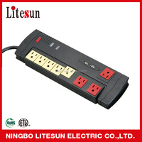 LITESUN LTS-L01 ETL CETL 8 Outlets all-in-one surge protected power strip with 2 USB Charging ports & RJ11 Phone/fax & RJ45 Data