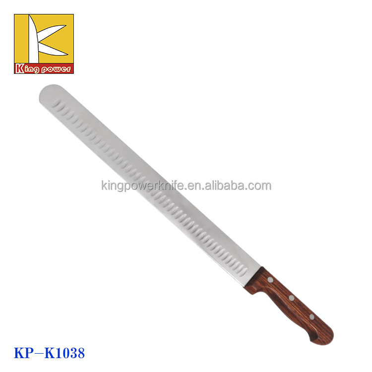 14inch stainless steel mirror blade with wooden handle ham knife